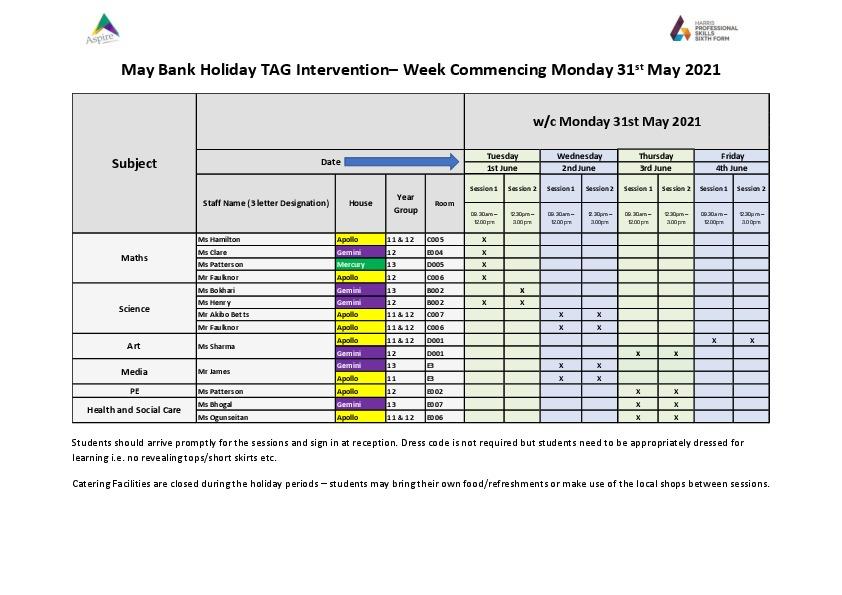 Revision sessions may bank holiday week 2021